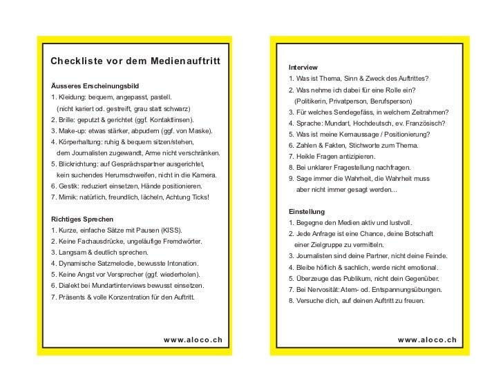 Checkliste vor dem Medienauftritt                                                           Interview                     ...