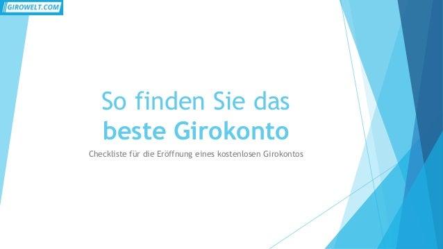 So finden Sie das  beste Girokonto  Checkliste für die Eröffnung eines kostenlosen Girokontos