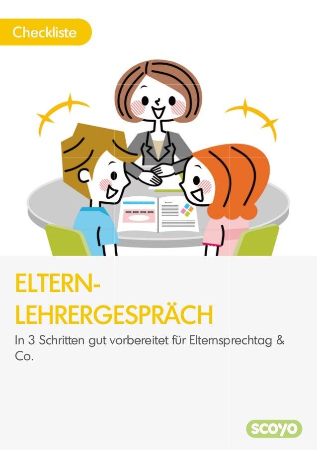 ELTERN- LEHRERGE Checkliste In 3 Schritten gut v Co. ESPRÄCH vorbereitet für Elternspprechtag &