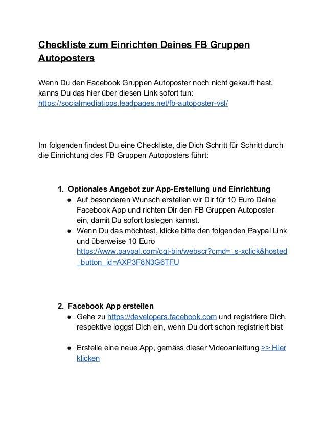 ChecklistezumEinrichtenDeinesFBGruppen Autoposters  WennDudenFacebookGruppenAutoposternochnichtgekaufthas...