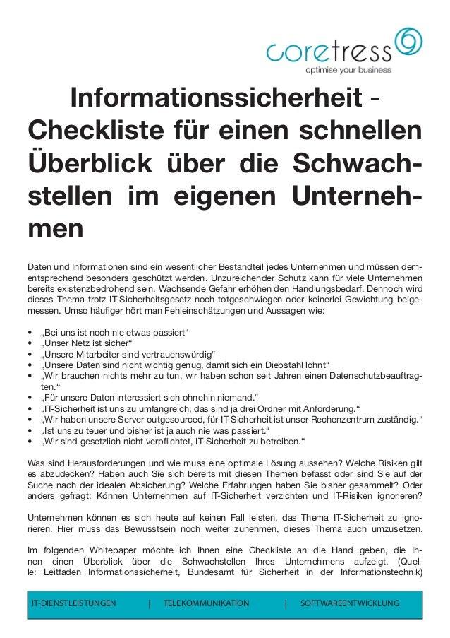 Informationssicherheit - Checkliste für einen schnellen Überblick über die Schwach- stellen im eigenen Unterneh- men Daten...