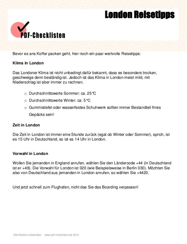 Checkliste London Reisetipps