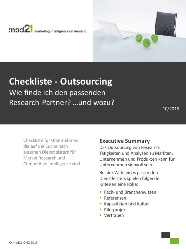 Checkliste für Unternehmen, die auf der Suche nach externen Dienstleistern für Market Research und Competitive Intelligenc...