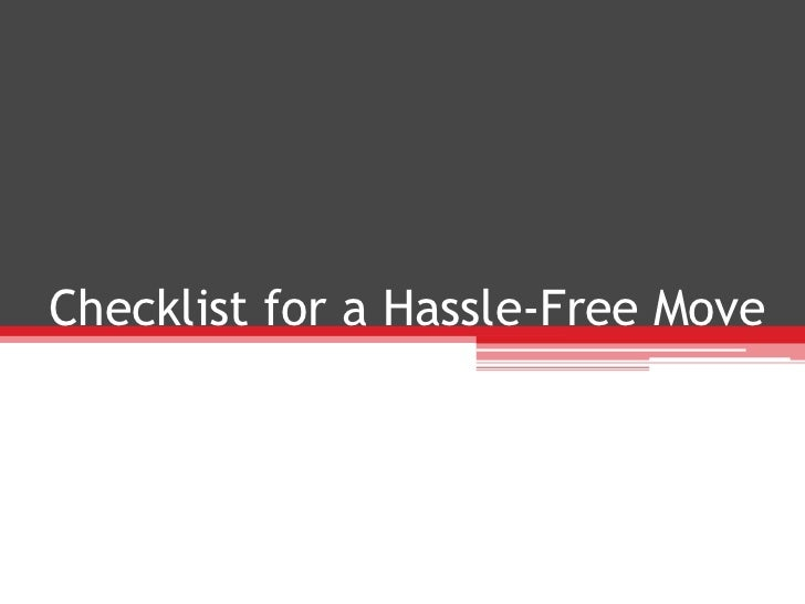Checklist for a hassle free move