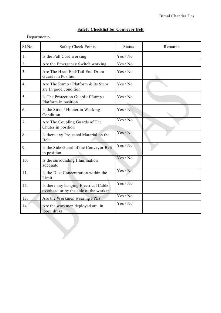 Check list for conveyor belt inspection, B C Das