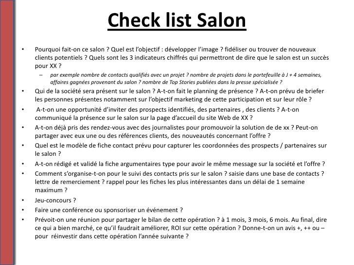 Check list participer un salon m tier - Participer a un salon professionnel ...
