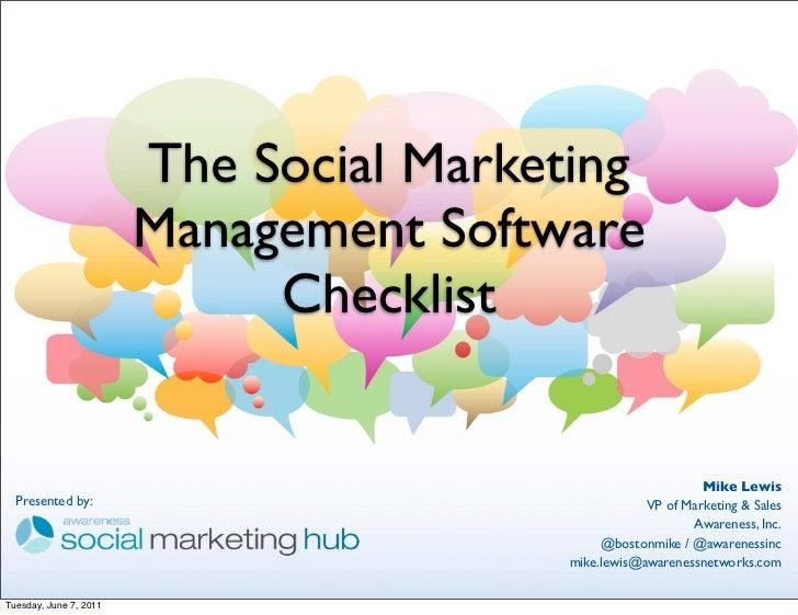 Social Media Marketing Software Checklist