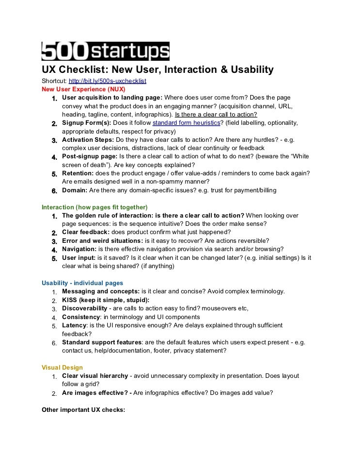 UX Checklist: New User, Interaction & UsabilityShortcut: http://bit.ly/500s-uxchecklistNew User Experience (NUX)   1. User...