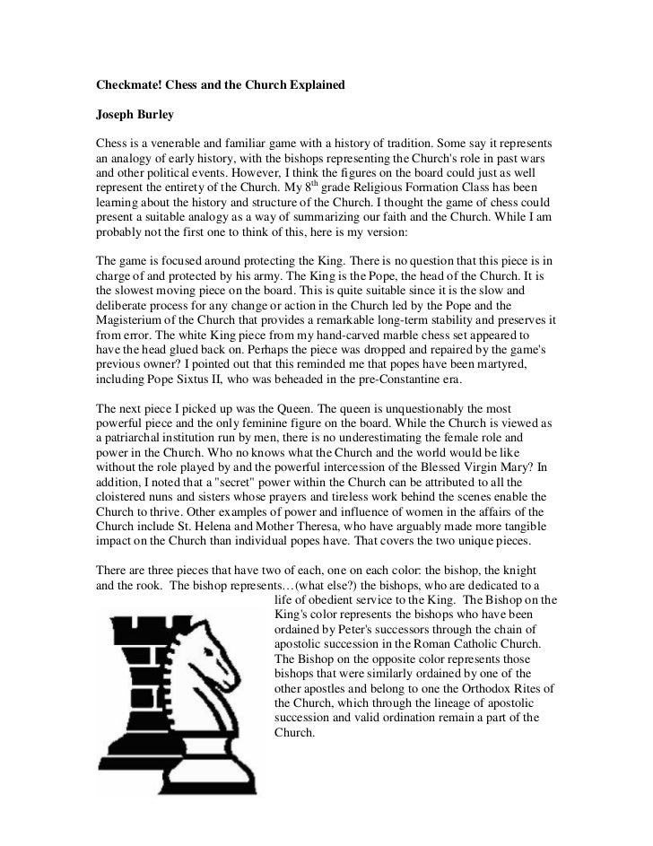 Checkmate! Chess and the Church ExplainedJoseph BurleyChess is a venerable and familiar game with a history of tradition. ...