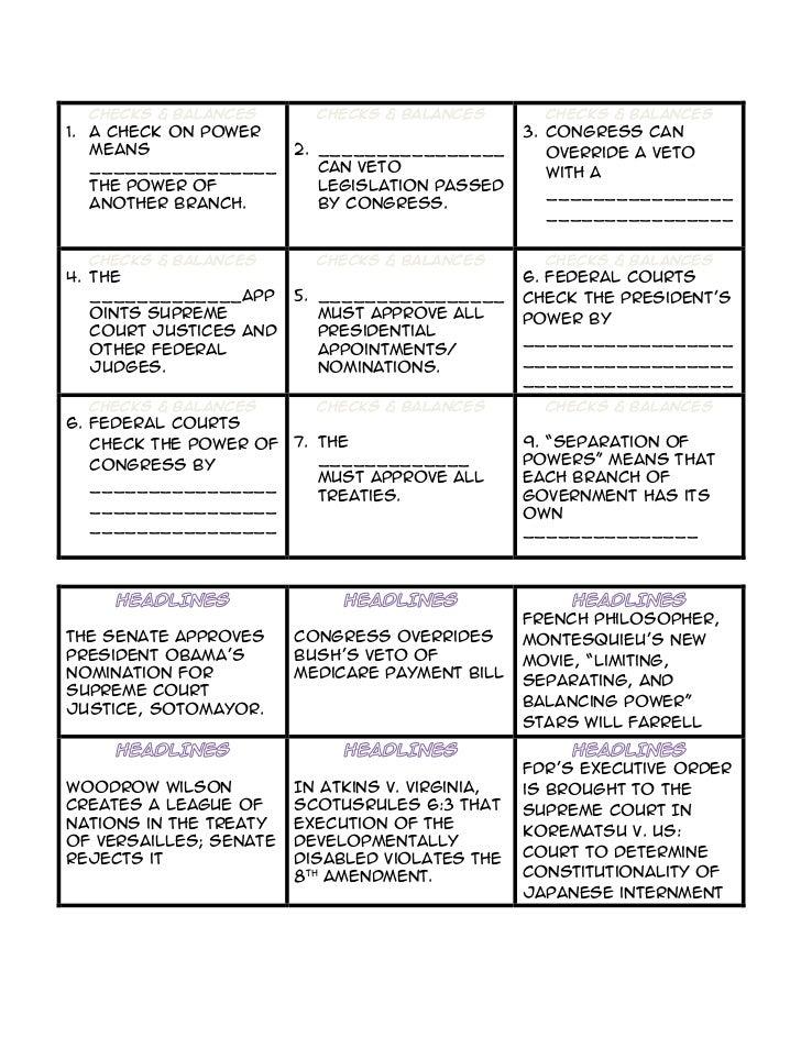 Checks And Balances Worksheet - klejonka