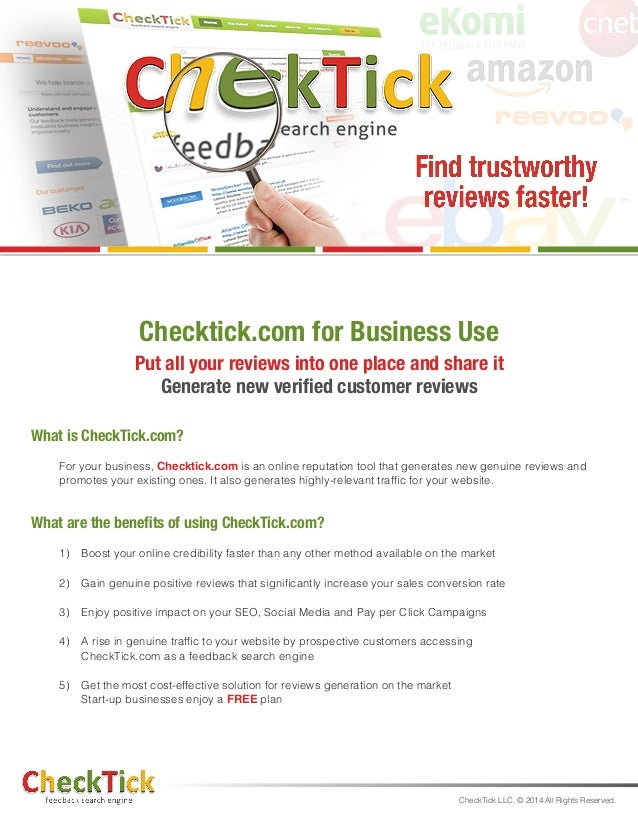 Checktick.com for Business Use  Put all your reviews into one place and share it Generate new verified customer reviews  ...