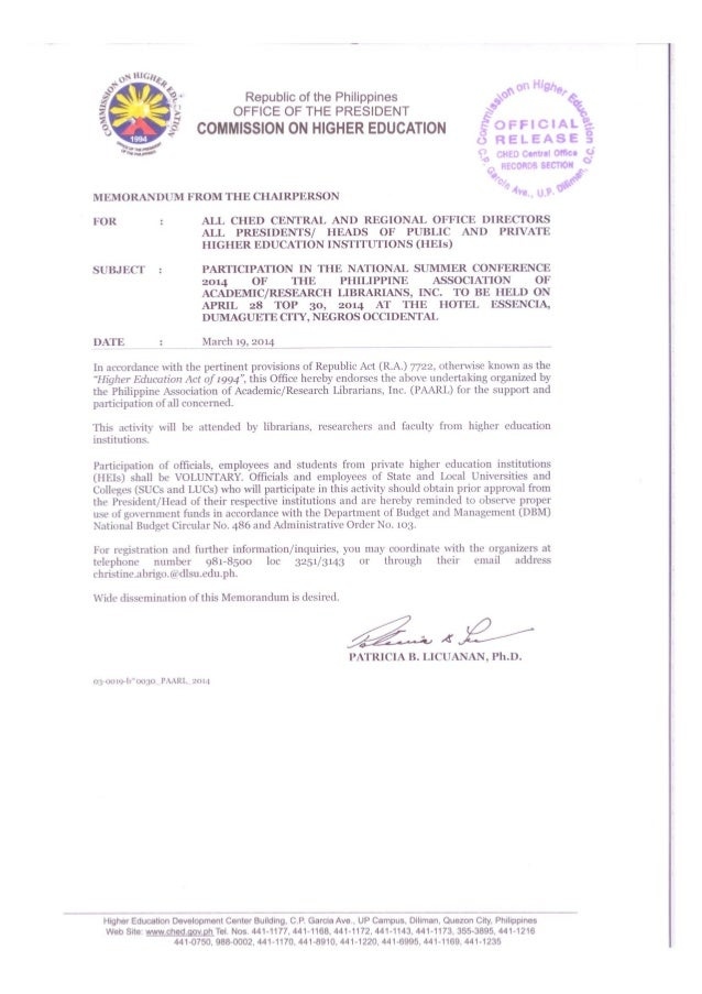 CHED memo endorsing participation in PAARL's National Summer Conference in Dumaguete