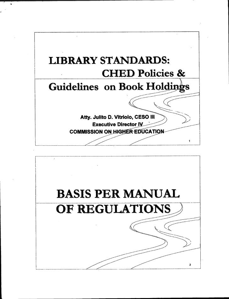 Library Standards: CHED Policies and Guidelines on Book Holdings