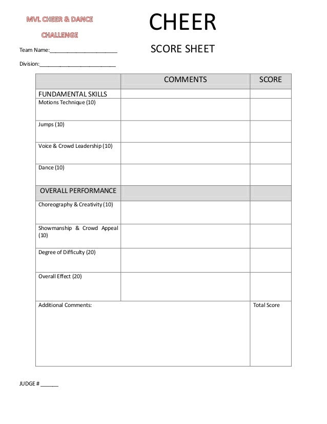 cheer tryout scoresheet Quotes