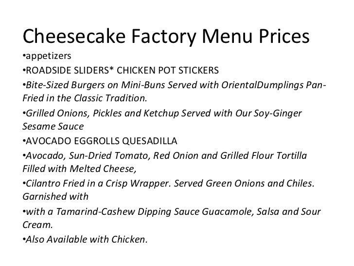 Cheesecake Factory Cheesecake Menu Prices Cheesecake Factory Menu