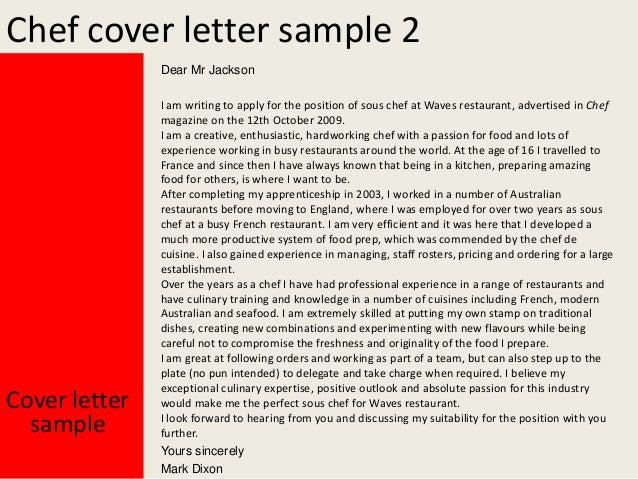 chef cover letter sample 2 dear mr jackson cover letter