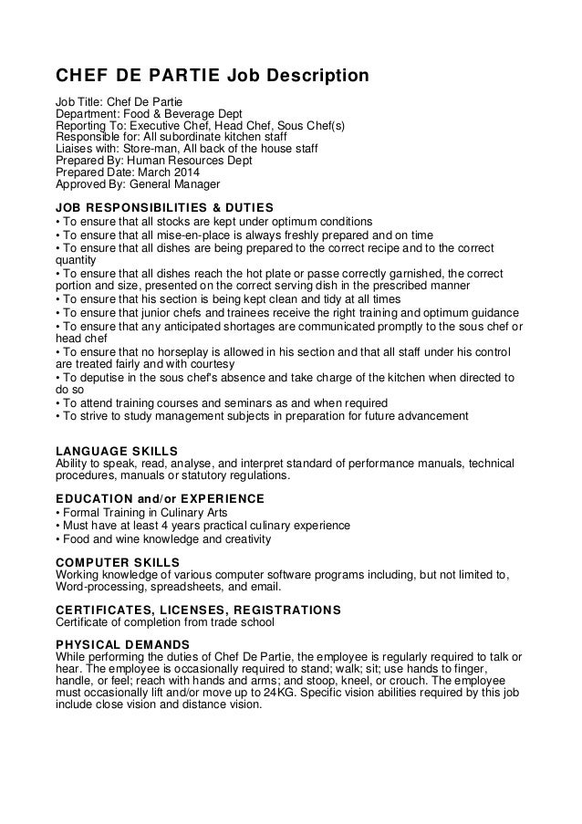 resume format  chef de partie cv format