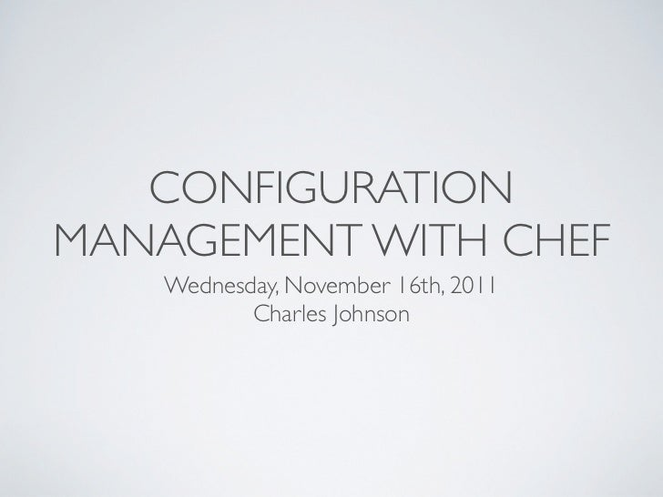 Chef meetup presentation