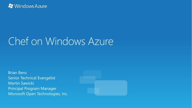 Working with Chef on Windows and Windows Azure