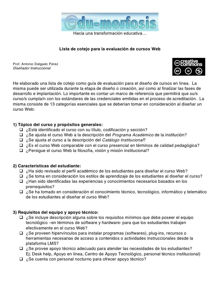 Hacia una transformación educativa…                                 Lista de cotejo para la evaluación de cursos Web   Pro...