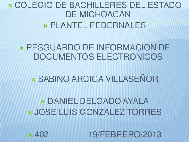    COLEGIO DE BACHILLERES DEL ESTADO              DE MICHOACAN          PLANTEL PEDERNALES       RESGUARDO DE INFORMACI...