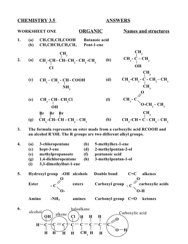 CHEMISTRY 3.5                                               ANSWERSWORKSHEET ONE                           ORGANIC        ...