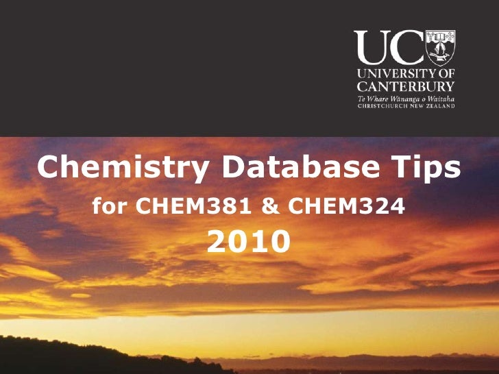 Chemistry Database Tips 2010