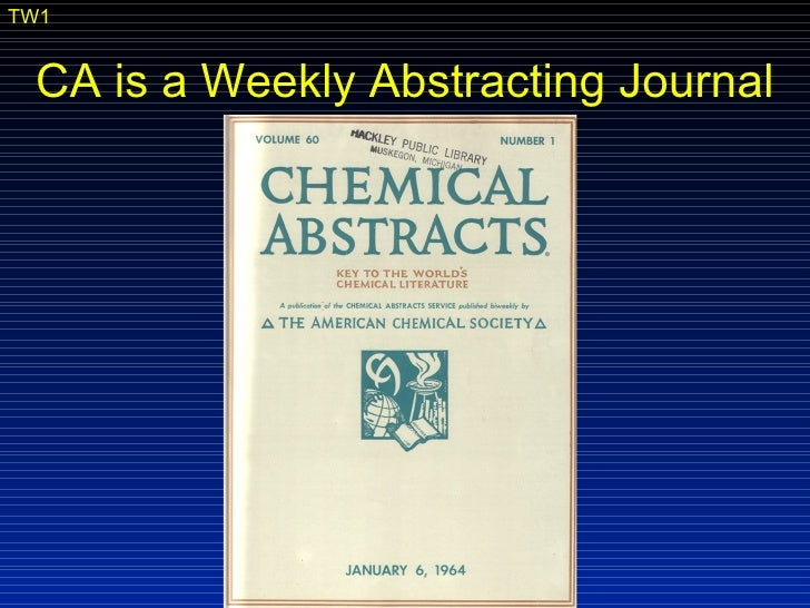 Searching Chemical Abstracts print edition