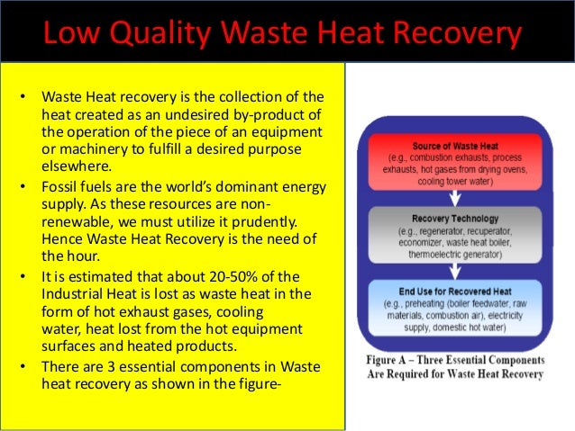 Low Quality Waste Heat Recovery • Waste Heat recovery is the collection of the heat created as an undesired by-product of ...