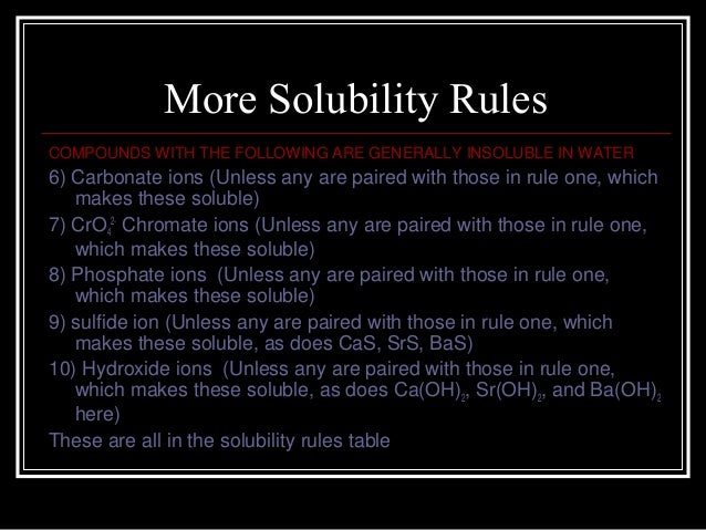 Solubility Rules Chromate More Solubility Rules