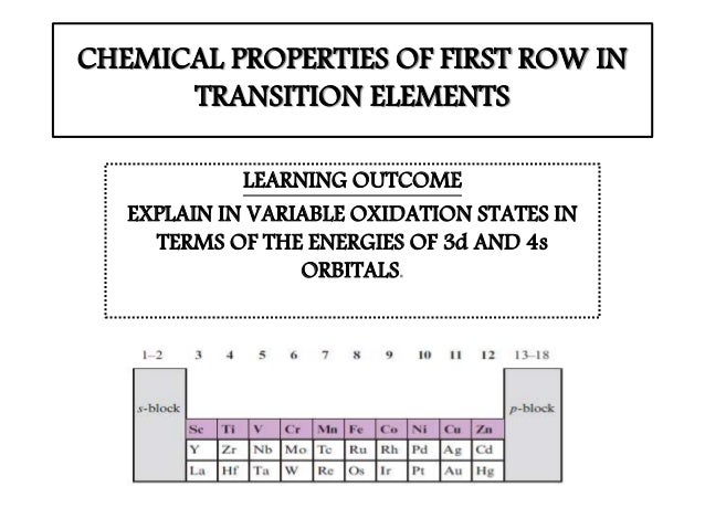 Chemical Properties Of First Row Transition Elements
