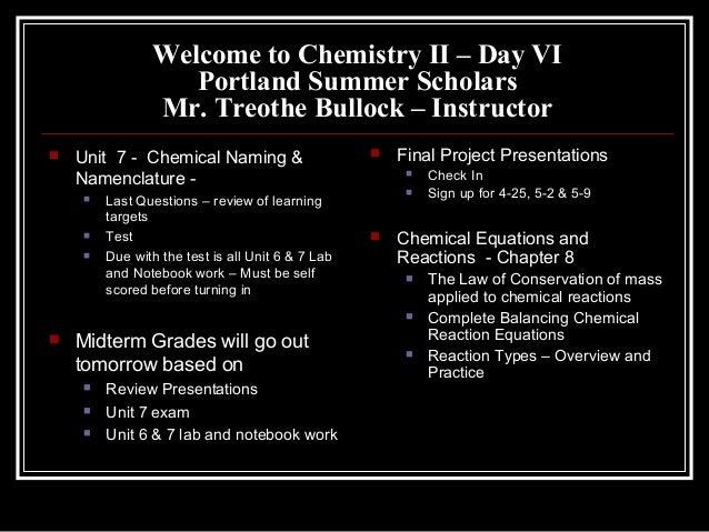 Chem II Day VI Agenda, HW &...
