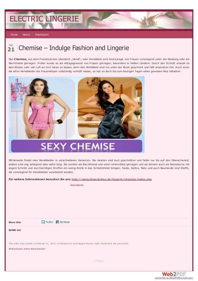 ELECTRIC LINGERIE Home          About   ImpressumFeb21 Chemise – Indulge Fashion and LingerieDas Chemise, aus dem Französi...