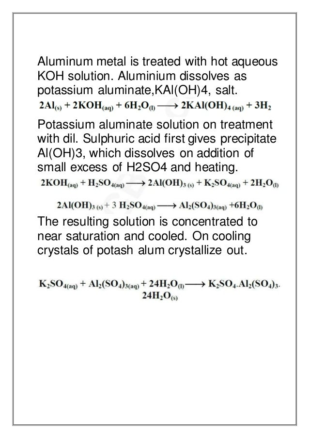 preparation of potash alum from scrap Poly aluminium sulfate from aluminium sulfate in detailed project report on poly aluminium sulfate from aluminium sulfate we.