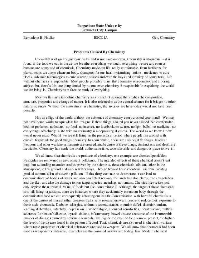 Chemistry admissions essay