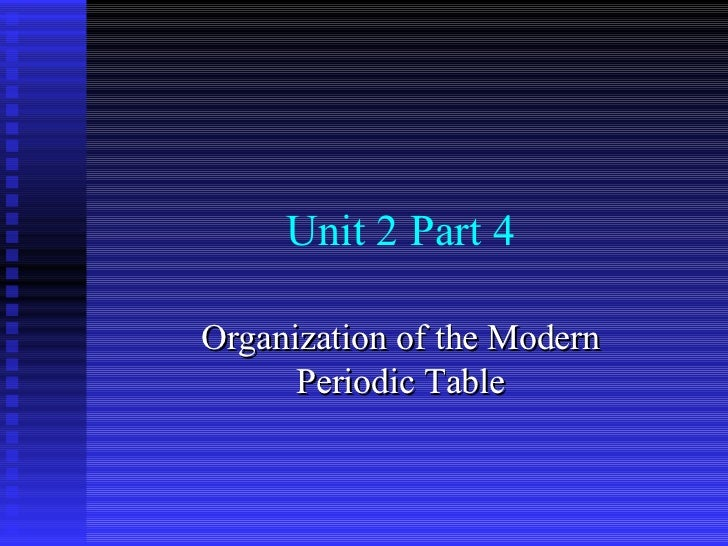 Unit 2 Part 4 Organization of the Modern Periodic Table