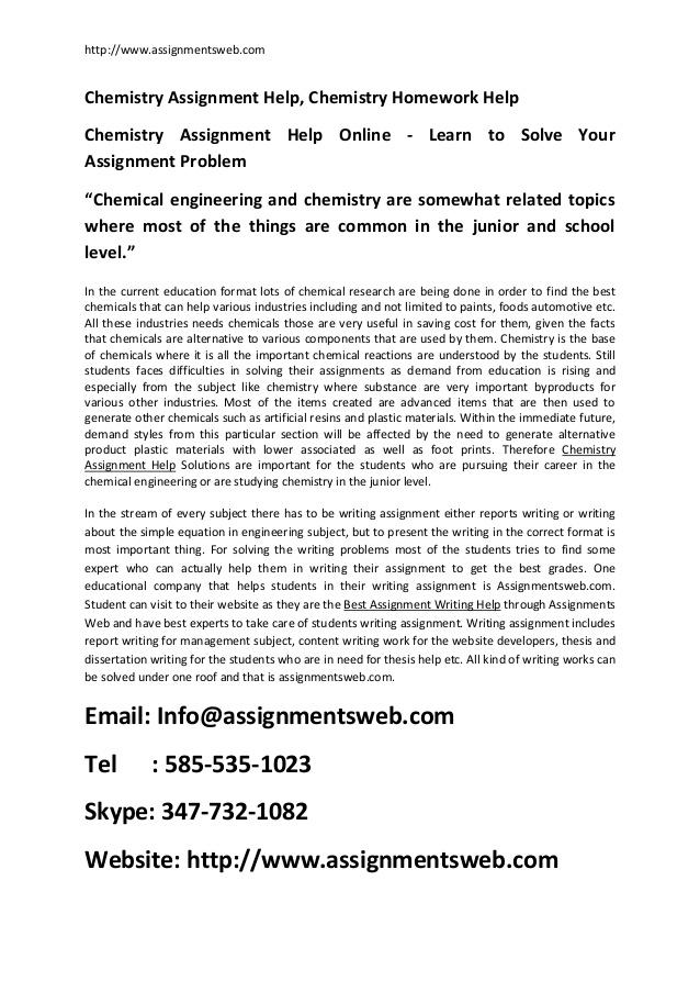 chemistry homework help online