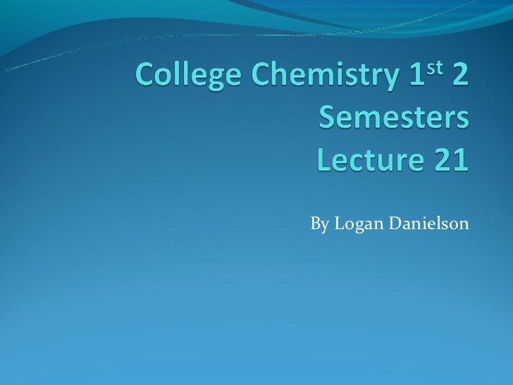Chemistry chapter 21