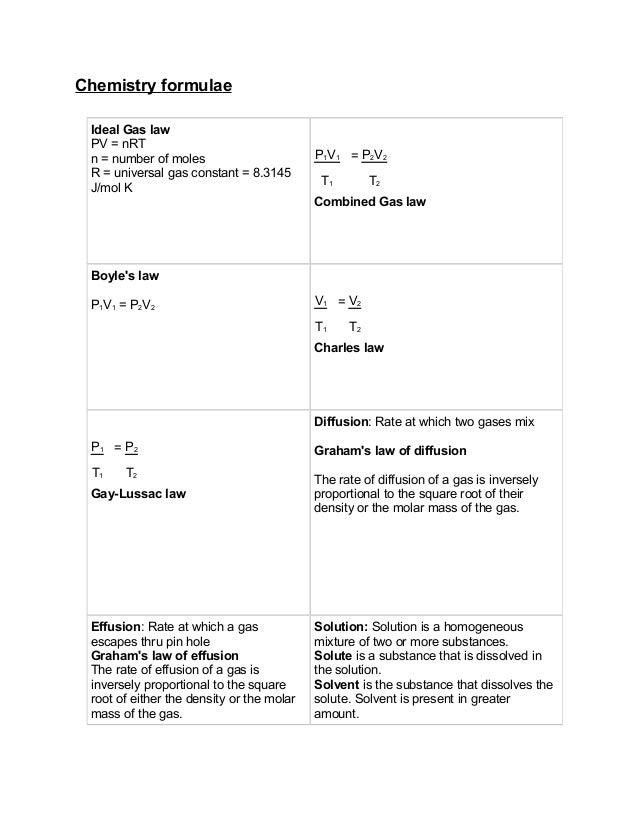Chemistry formulae Ideal Gas law PV = nRT n = number of moles                       P1V1 = P2V2 R = universal gas constant...