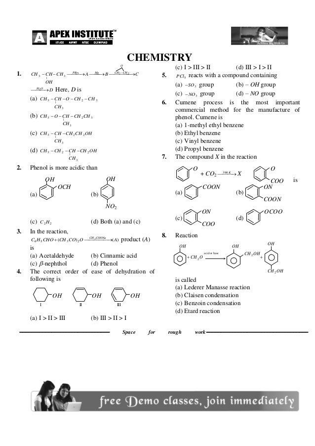 CHEMISTRY 1. CBACH OH HCCH O CHCHMgPBr      223 3 | 3 DOH   2 Here, D is (a) 32 3 | 3 CHCHO CH HCCH ...