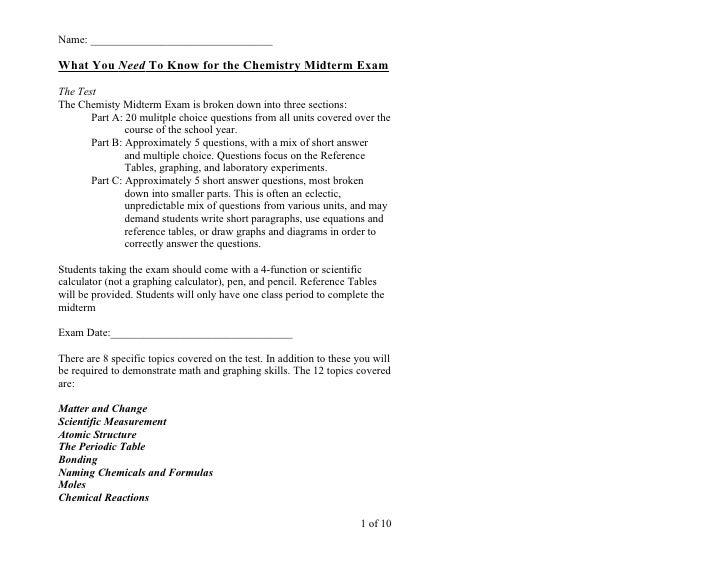 Chemistry - Midterm Study Guide 2011