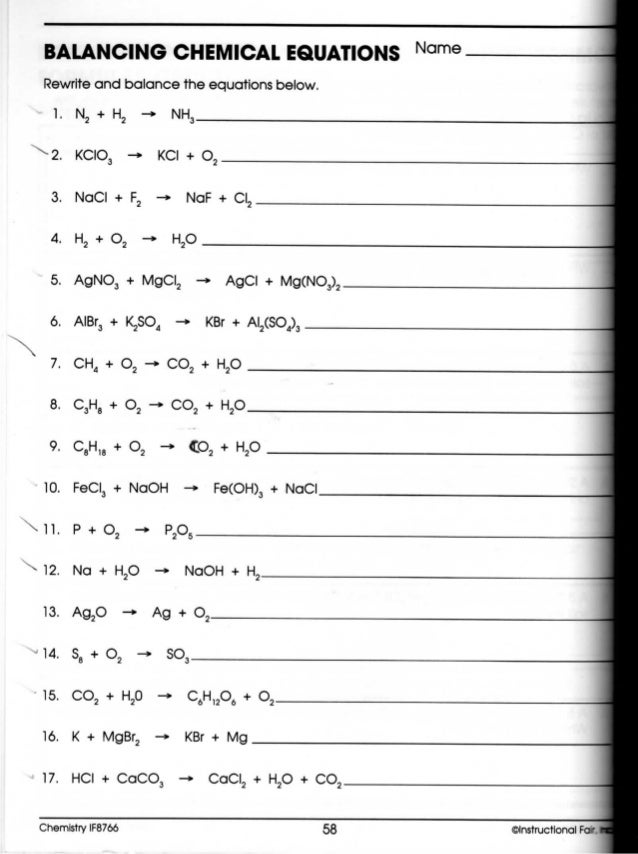 Worksheets Balancing Chemical Equations Worksheet Answer Key H2 O2 chemistry stoichiometry balancing chemical equations