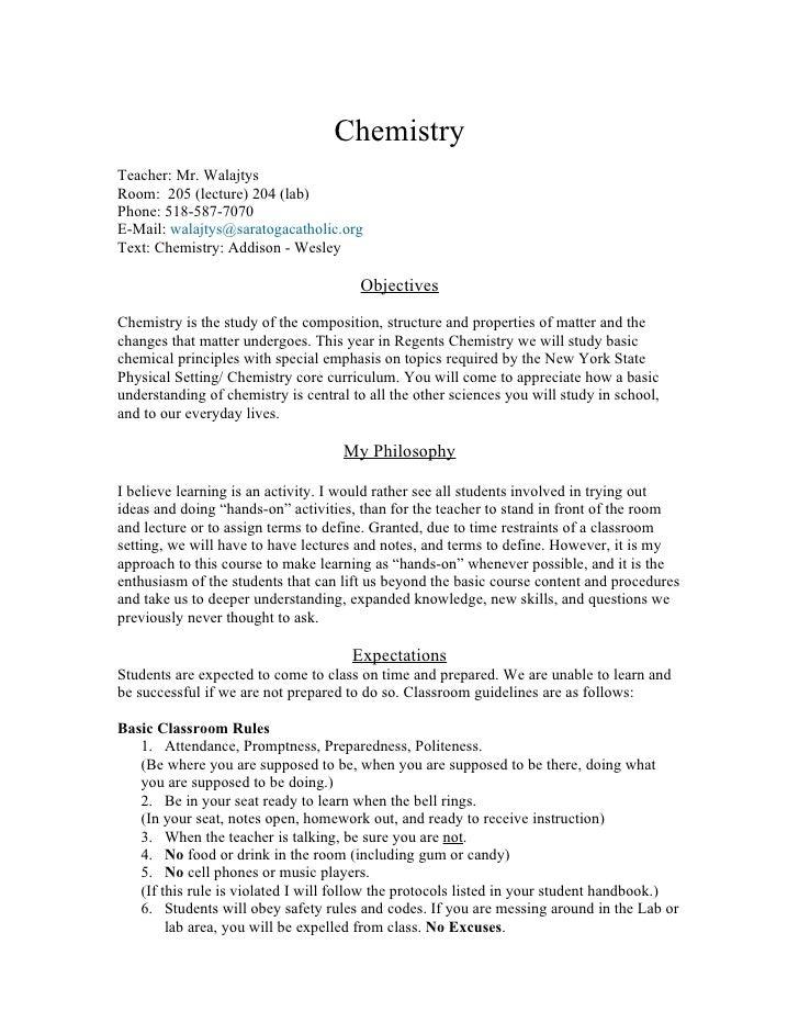 Chemistry syllabus 2008
