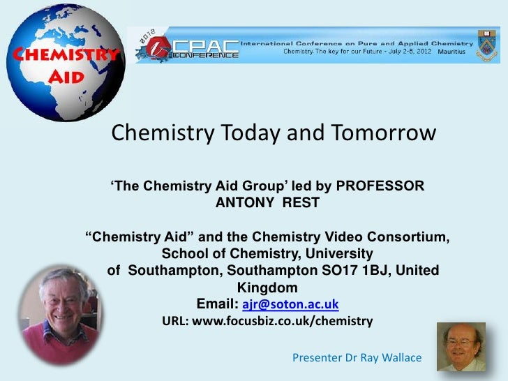 """Mauritius   Chemistry Today and Tomorrow   """"The Chemistry Aid Group"""" led by PROFESSOR                  ANTONY REST""""Chemist..."""