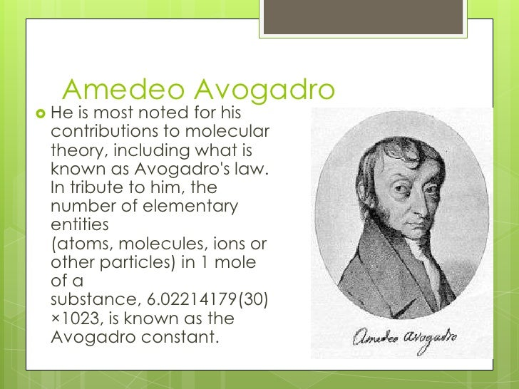 avogadros contribution to modern chemistry Lavoisier's work in framing the principles of modern chemistry led future generations to regard him as a founder of the science contents.