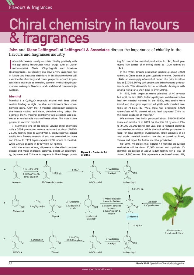 Chirality in Flavours & Fragrances