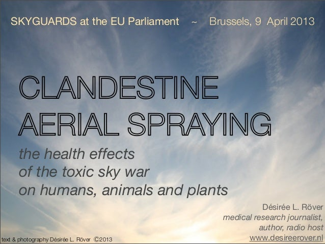 SKYGUARDS at the EU Parliament           ~   Brussels, 9 April 2013      CLANDESTINE      AERIAL SPRAYING      the health ...