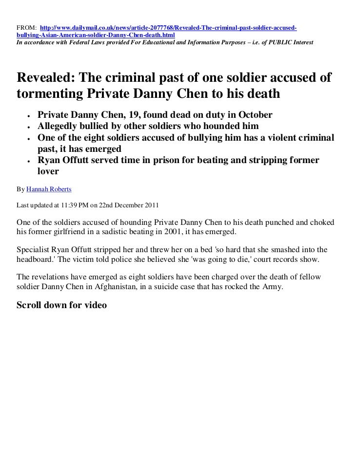 FROM: http://www.dailymail.co.uk/news/article-2077768/Revealed-The-criminal-past-soldier-accused-bullying-Asian-American-s...