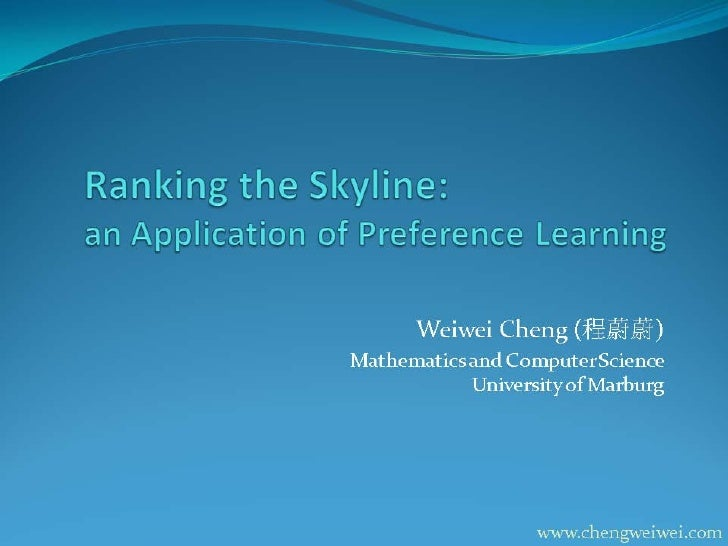 Ranking the skyline: an application of preference learning