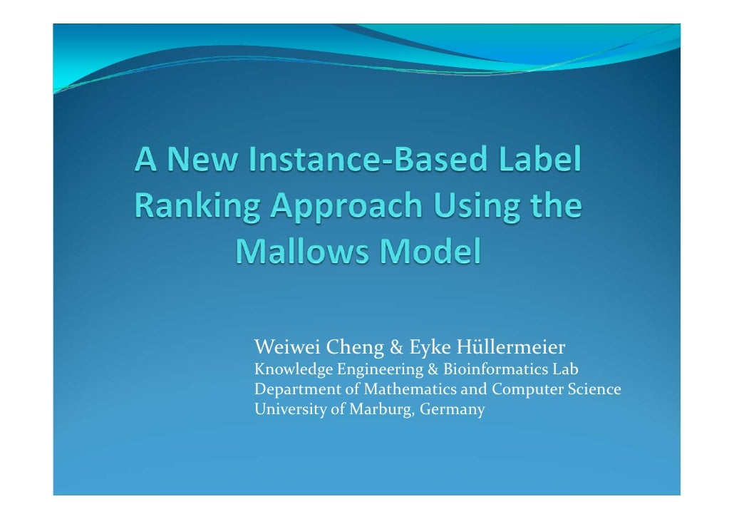 A new instance-based label ranking approach using the Mallows model